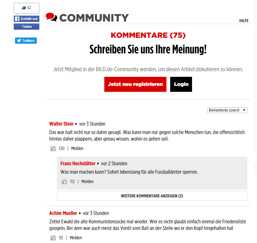 German Bild average article receives more comments than likes
