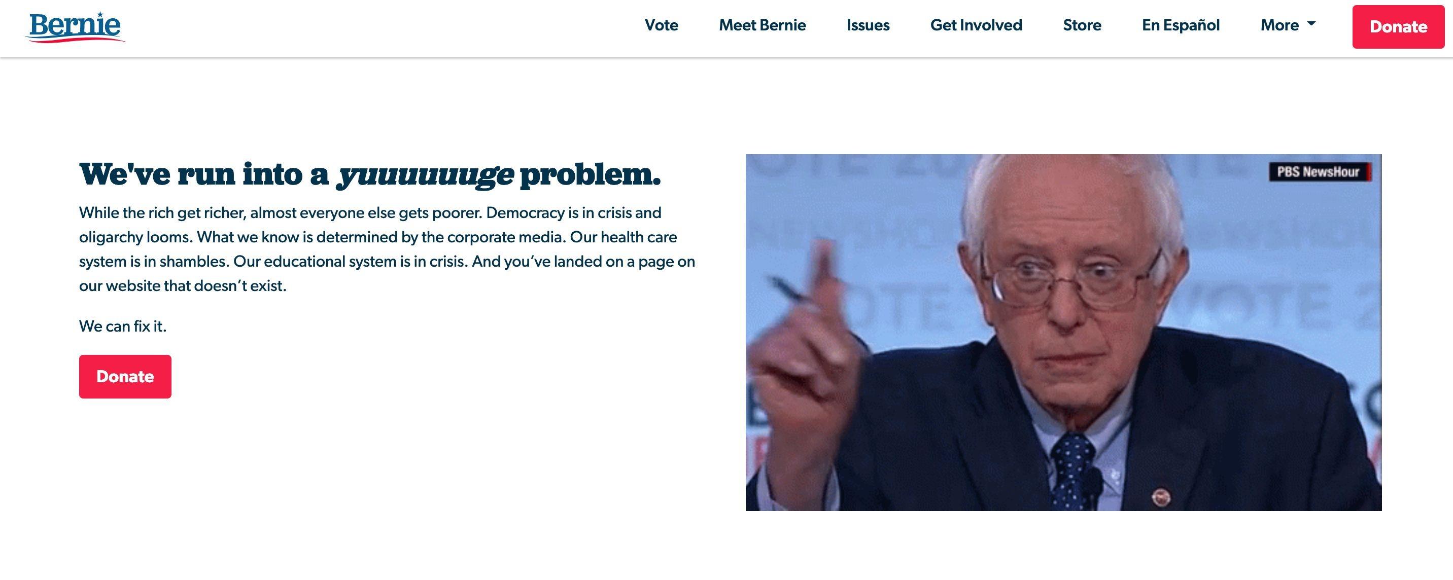 404 page examples - Bernie Sanders